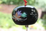 Ceramic Wind Chime, Black Maple Leaf, 7cm